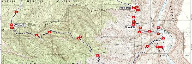 Photo Maps  April 2005  Nankoweap Mystic Falls Kolb