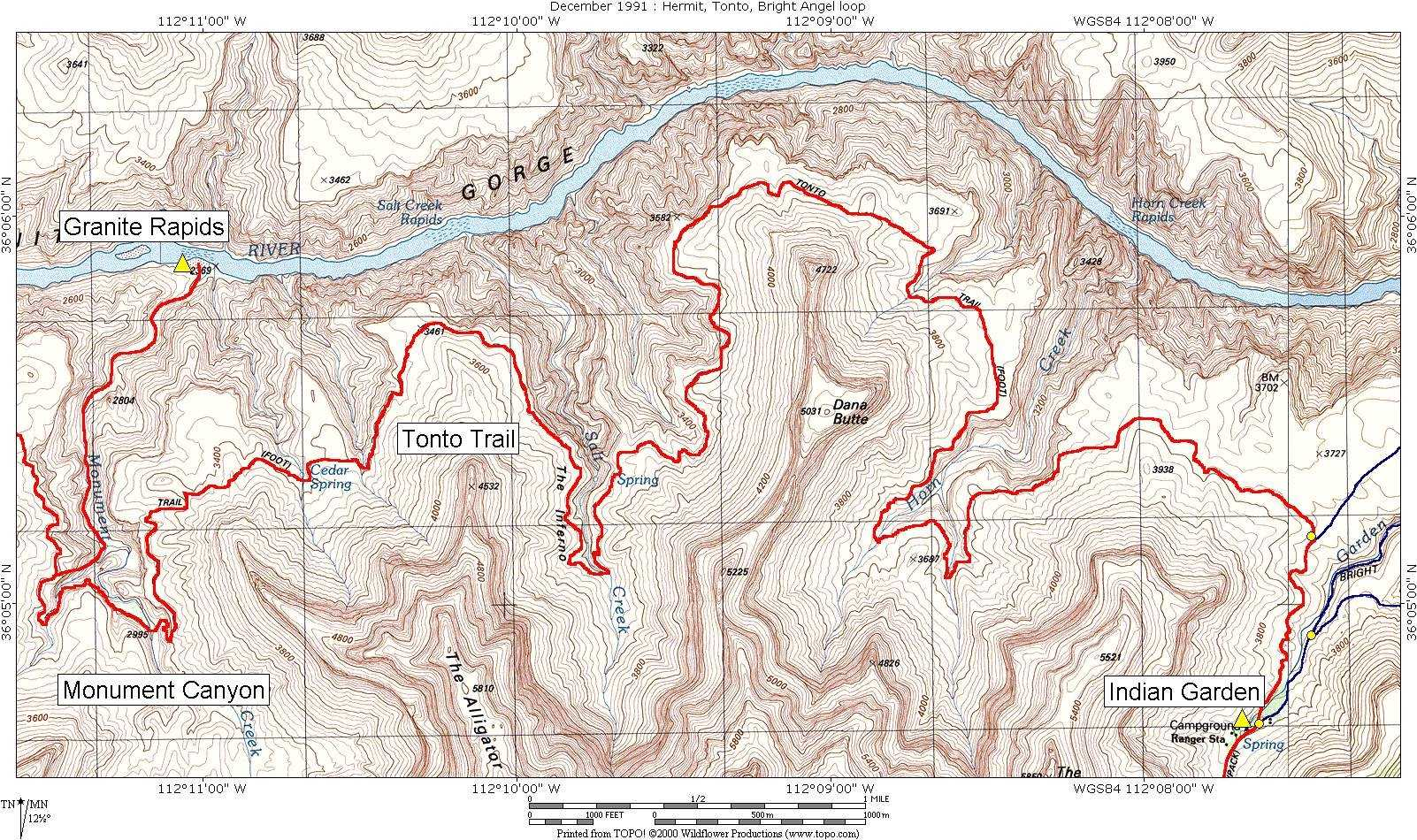 Day Tonto Trail From Monument Creek To Indian Garden - Grand canyon campground map