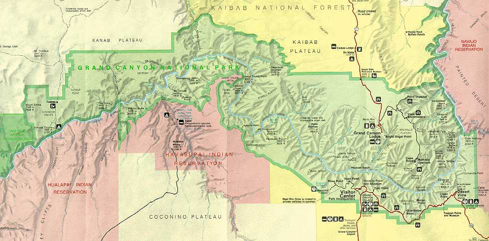 Park Service map for Grand Canyon National Park